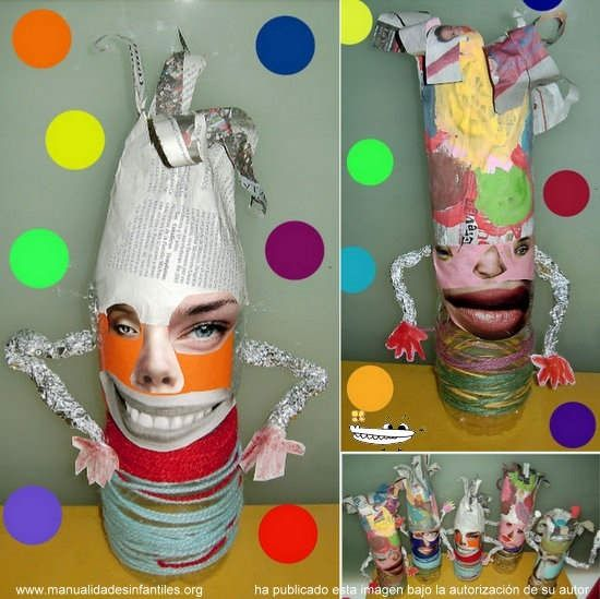 Con botellas de plástico, papel de aluminio, celo, pegamento, revistas viejas donde salgan personas, tijeras, lana y temperas los niños formarán su propio personaje. Esto nos ayudará a abordar la temática del carnaval y a su vez las partes del cuerpo. Al mismo tiempo que disfrutan, van aprendiendo.