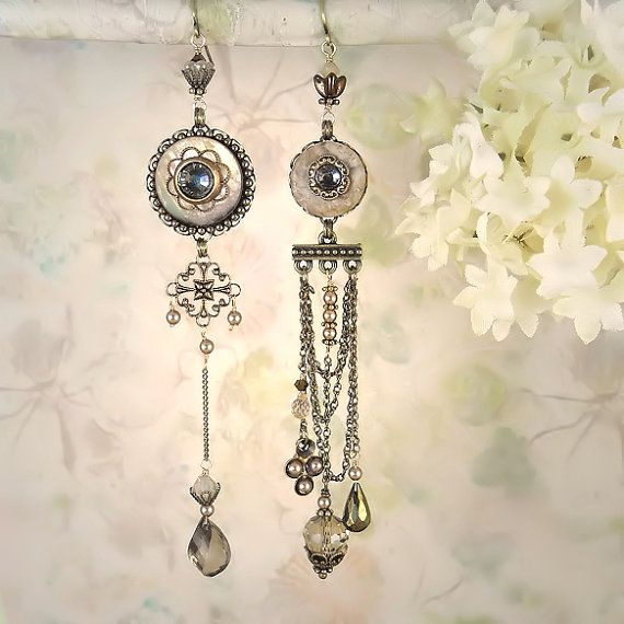 Mystique Asymmetrical Earrings Taupe Version  by MiaMontgomery, $89.00
