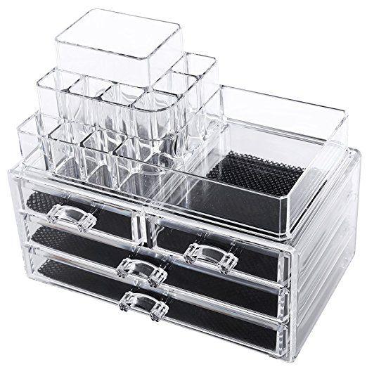 Songmics Acryl Kosmetik aufbewahrung Organizer Schubladen 24 x 13,5 x 18,5 cm 2 Ebenen 4 Schubladen große JKA001