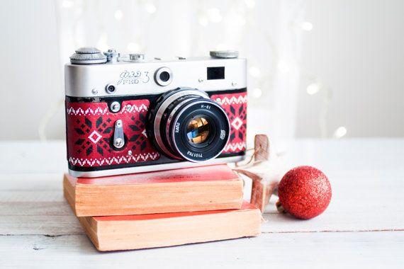 Fed 3 - vintage functional russian camera for lomography, refurbished camera w/ folk patterned printed leather (+ Industar 61 Zebra lens)