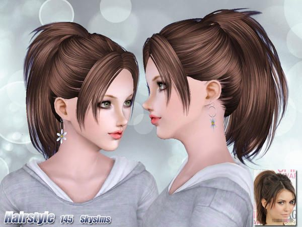 Texturized ponytail with bangs hairstyle 145 by Skysims for Sims 3 - Sims Hairs - http://simshairs.com/texturized-ponytail-with-bangs-hairstyle-145-by-skysims/