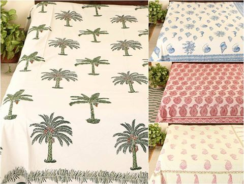 ✿ Sanganeri Hand Block Print Cotton Double Bed Covers ✿