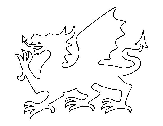 Welsh dragon pattern. Use the printable outline for crafts, creating stencils, scrapbooking, and more. Free PDF template to download and print at http://patternuniverse.com/download/welsh-dragon-pattern/