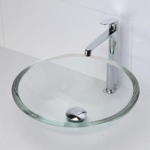 DECOLAV Translucence Glass Vessel Sink in Transparent Crystal 1019T-TCR at The Home Depot - Mobile