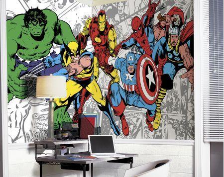 Comic Book Wall Murals 18 best boy's room images on pinterest   wall murals, bedroom