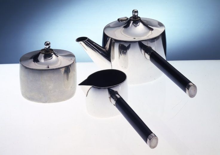 Part of a coffee set by Josef Hoffmann. Date: 1909-1911. Manufacturer: Wiener Werkstatte factory. Medium: wood, silver alloy, silver. Technique: electroplated, ebonised. Who: Hoffmann played a pivotal role in the formation of the Secessionists in 1897. He later left and helped establish the Wiener Werkstatte where he designed a variety of products. Reference: The British Museum. Coffee-set / Coffee-pot. Collection online. [Online]. Available: Follow Link.