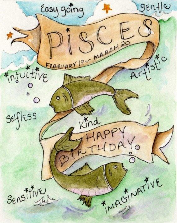 Happy Birthday Pisces  Art Print by RoseHillDesignStudio on Etsy, $20.00