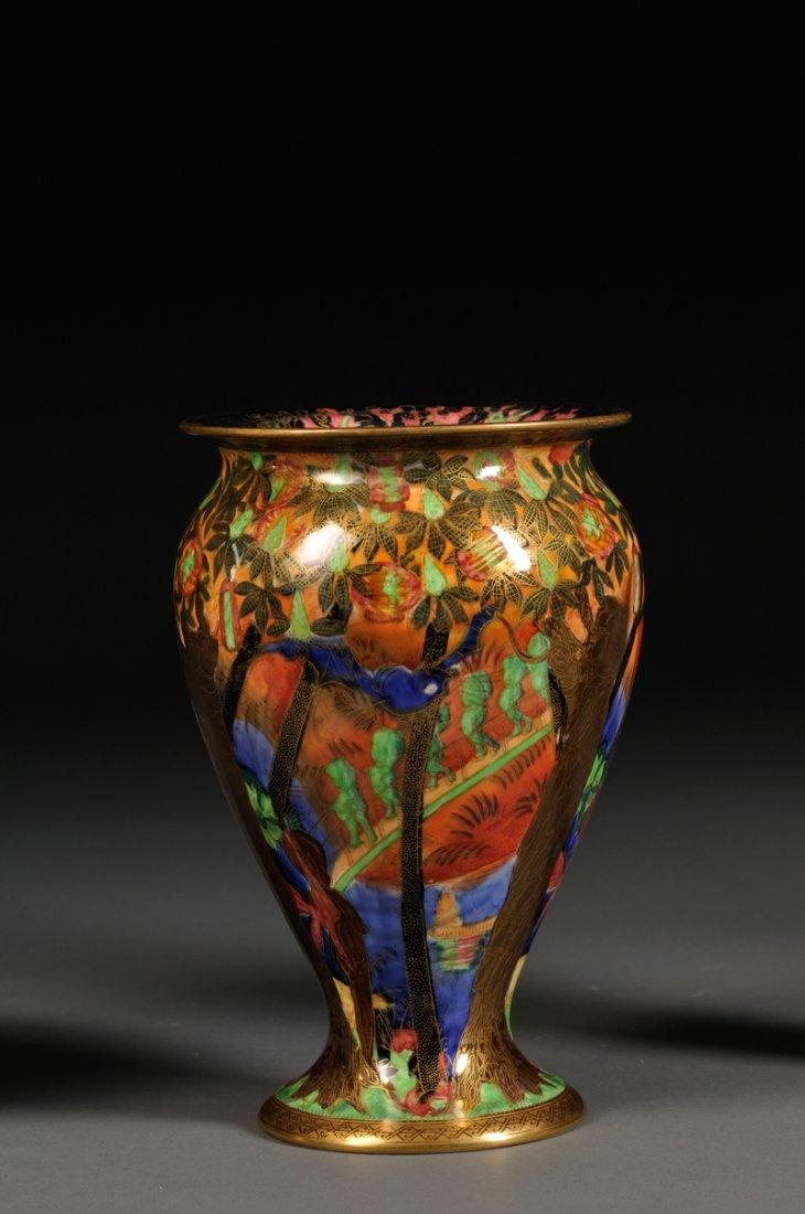 1920 Wedgwood Fairyland Lustre Imps on a Bridge & Tree House Vase