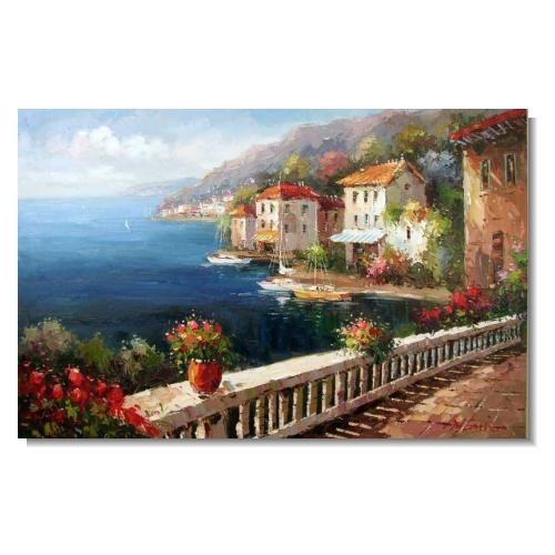 French Resort Beach Cove Coast Ocean Impressionist Landscape Oil Painting Canvas Art
