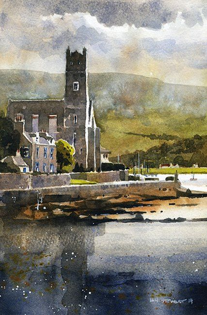 "Iain Stewart Watercolors From the Shore Road- Isle of Bute, Scotland 10"" x 6"""