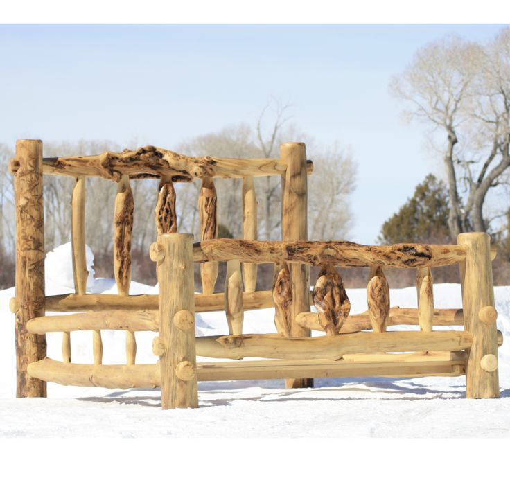 rustic log bed frame