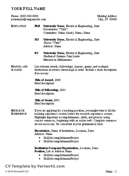 sample curriculum vitae format for students     resumecareer info  sample