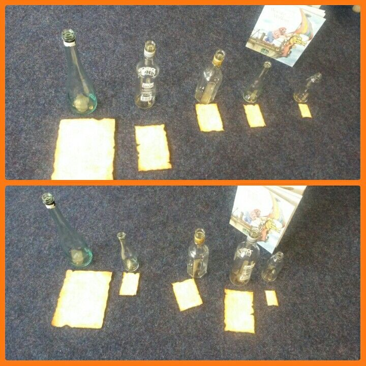 Welke schatkaart hoort bij welke fles?  Van groot naar klein en in willekeurige volgorde.