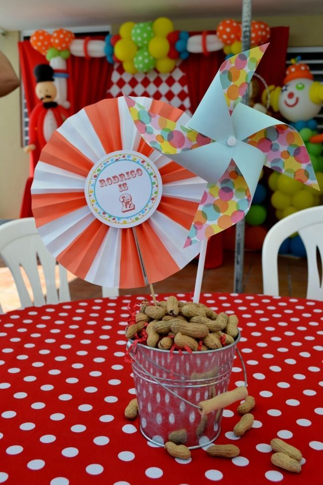 A Boyu0027s Carnival Birthday Party. Circus CenterpiecesParty Table Centerpieces Centerpiece ...