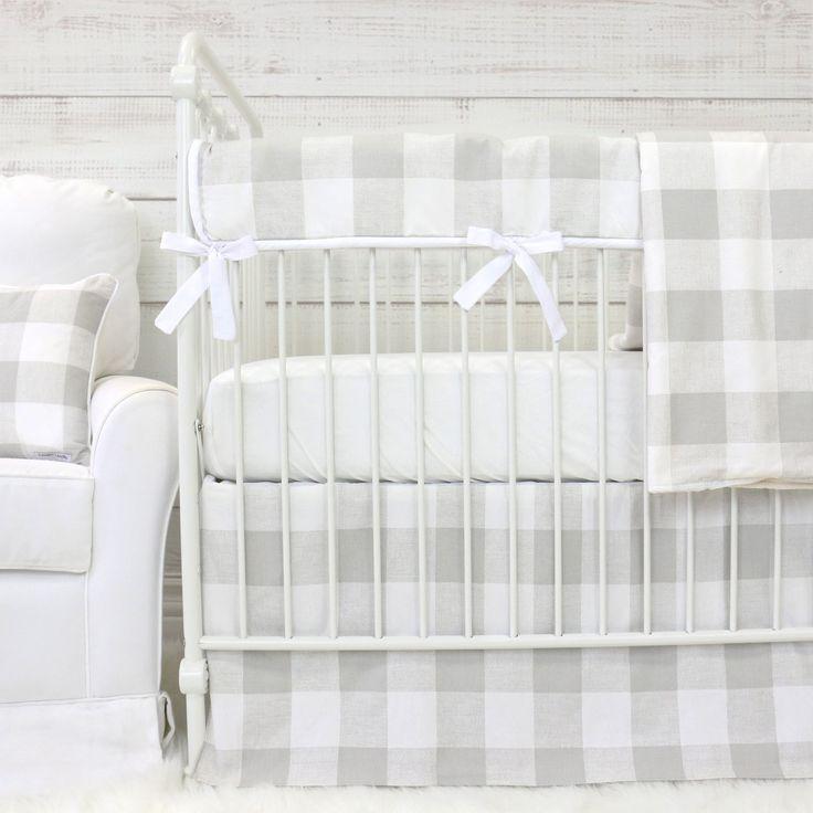 Fletcher's Light Gray & Off-White Plaid Bumperless Crib Bedding