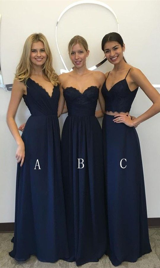 Simple Bridesmaid Dresses Navy Blue Lace Two Piece Prom