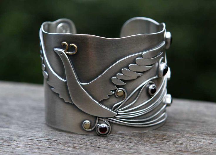 firebird - sterling silver, gold and garnet cuff