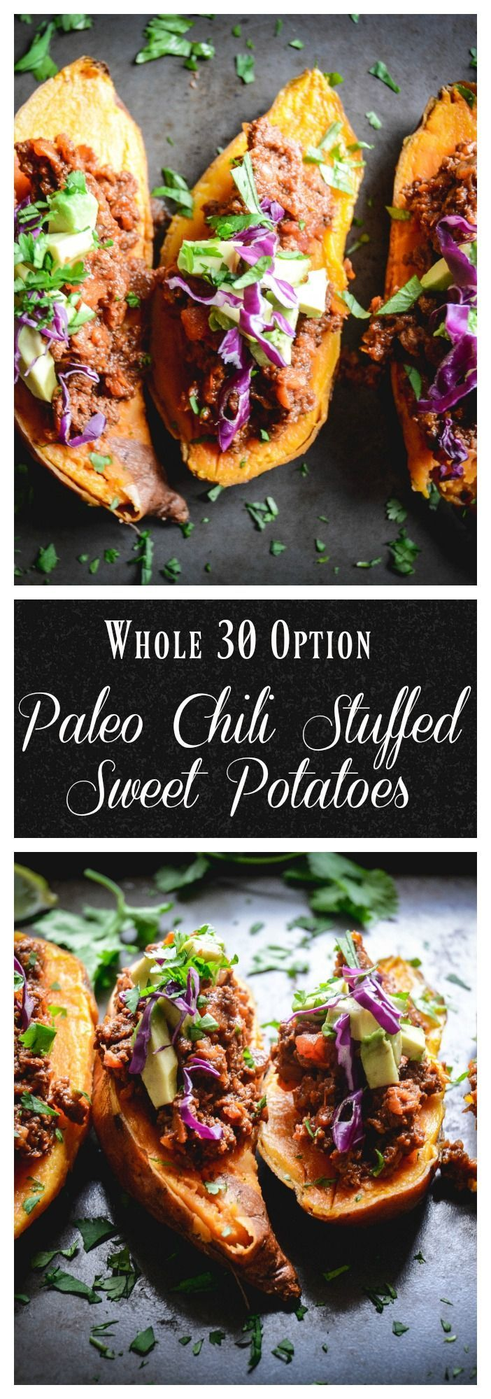 Chili stuffed sweet potatoes are an easy, satisfying dinner and a twist on the traditional sweet potato chili. These are paleo and whole 30 as well! #chili, #sweetpotato, #dinner, #paleo, #whole30