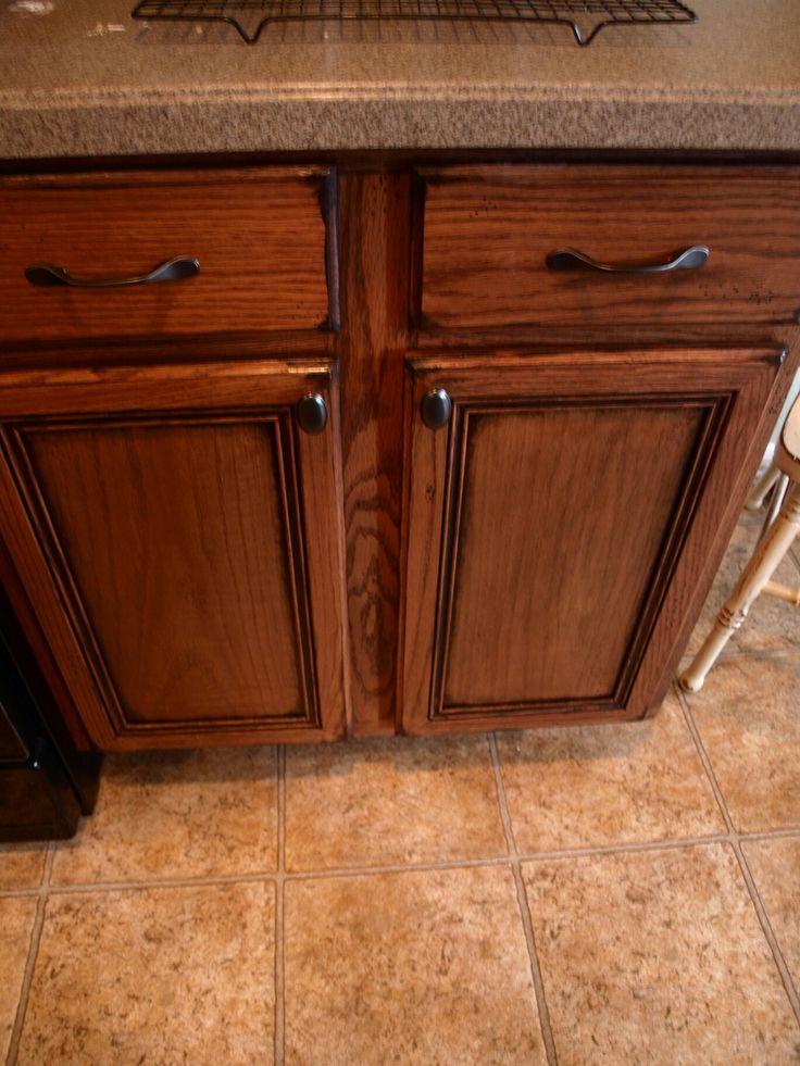 Dark stain over light stain Antique kitchen