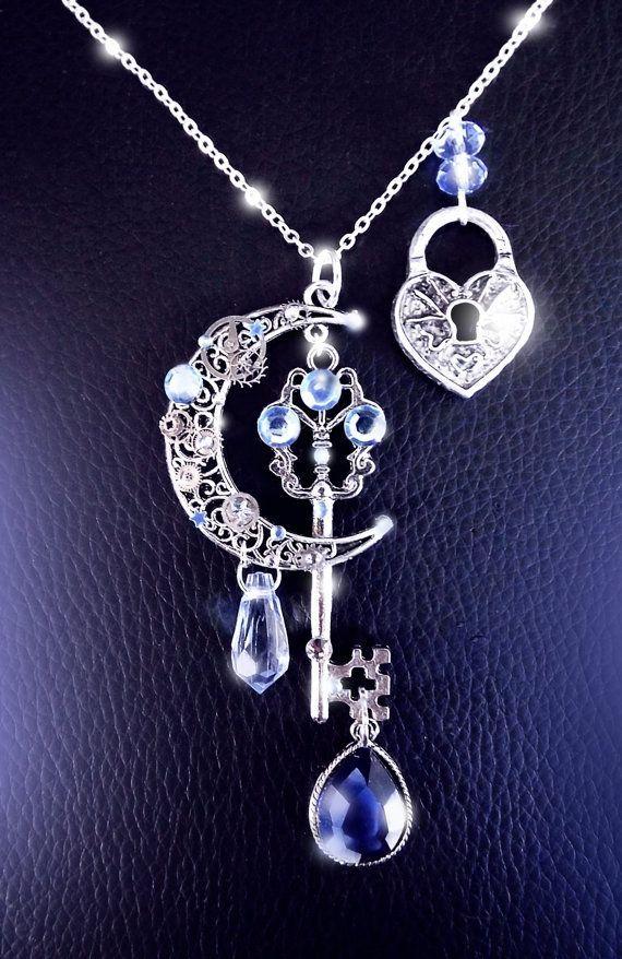 Moonlight secrets - Silver steampunk key moon necklace by CindersJewelryDesign