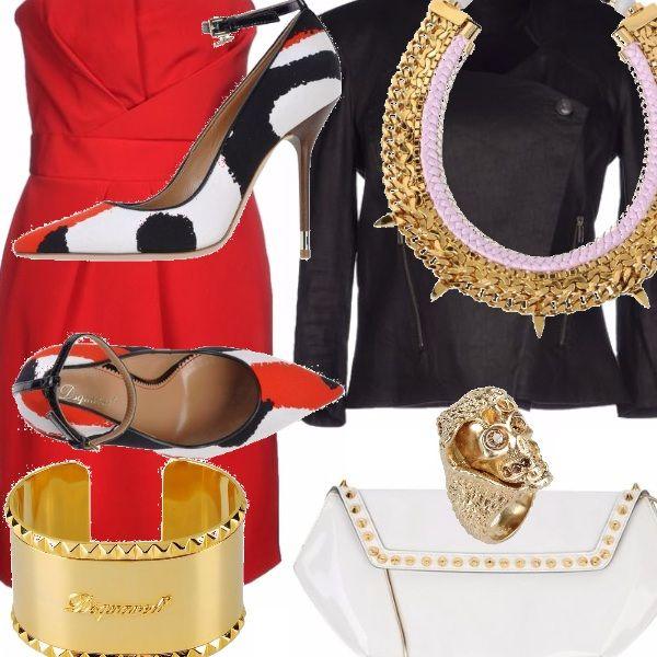 Un tubino rosso,  simbolo di sensualità e seduzione; accostato a un paio di scarpe dal tacco alto.  I gioielli color oro impreziosiscono poi il look.  Per stupire e non passare inosservata.
