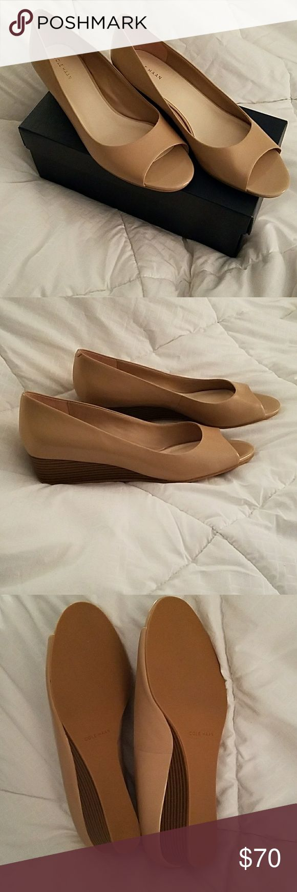 Cole Haan Tan Open Toe Wedges 👡Cole Haan Elsie Open Toe Wedge II in Maple Sugar 👡Worn twice, EUC, clean Cole Haan Shoes Wedges