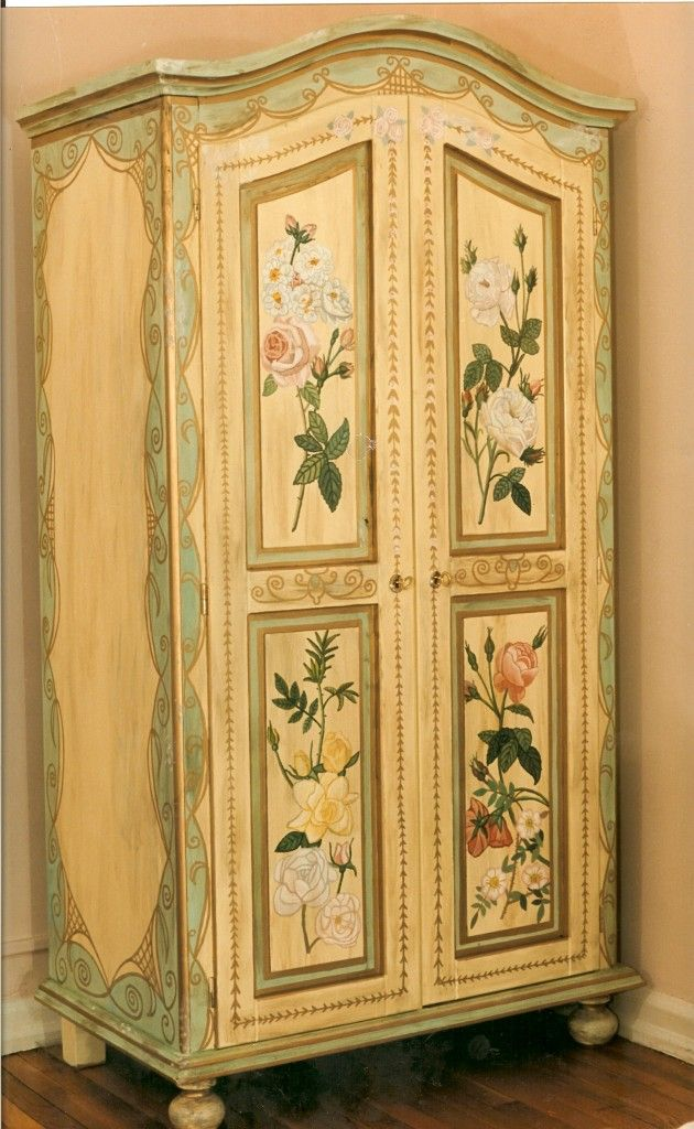 Painted Armoire With Flowers Nyc Painted Furniture