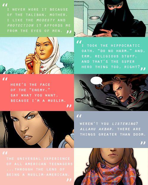muslim heroines of the marvel universe: sooraya qadir, faiza hussain, monet st. croix, monica chang, kamala khan #marvel