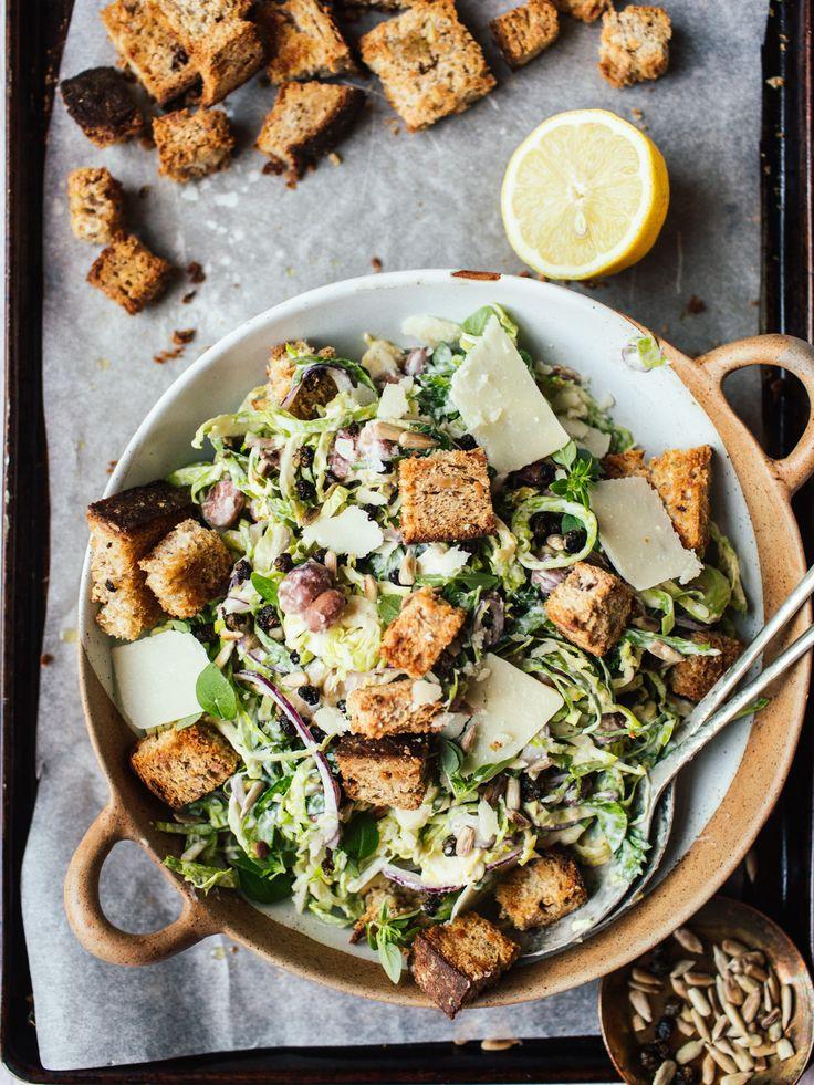 Brussels Sprout Caesar Salad (Vegetarian)