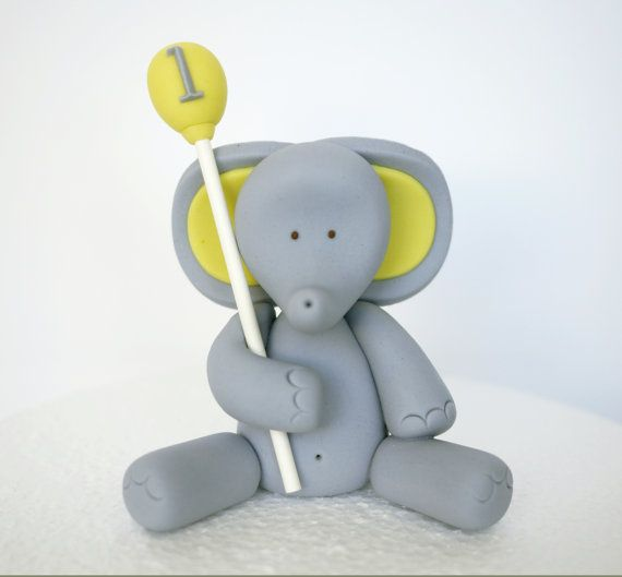 Fondant Elephant Cake Topper  Fondant animal by SugarDecorByLetty