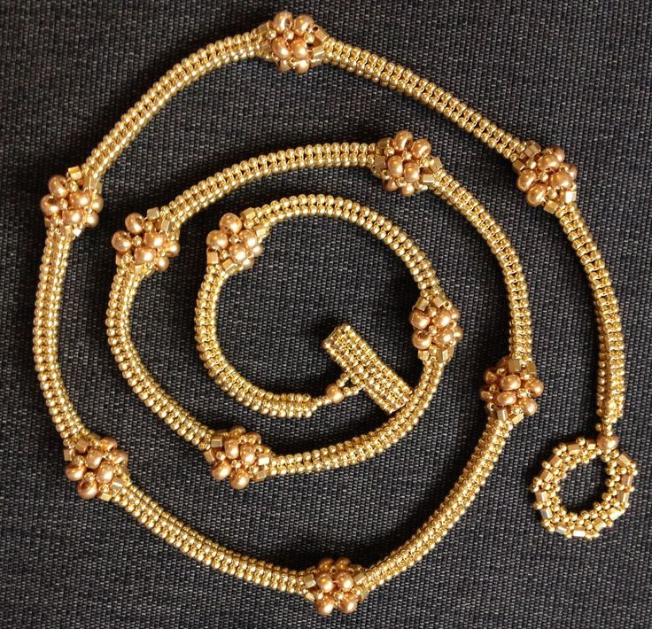 Jill Wiseman designs, herringbone gold seed bead necklace.