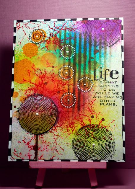 #papercrafting #artjournaling: Eileen's Crafty Zone: Dylusions Sprays and Designs by Ryn Stamps.  This site has such WONDERFUL cards and journal pages!!