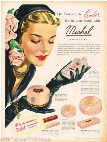MICHEL COSMETICS AD LIPSTICK Vintage Advertising 1953