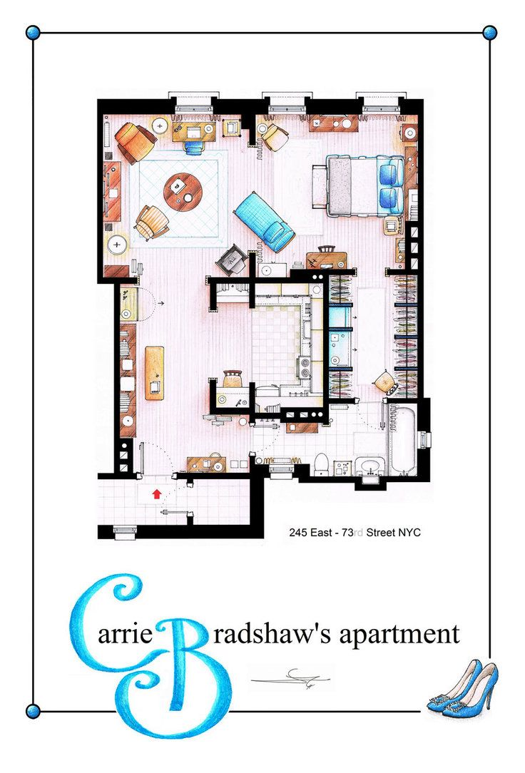 Carrie bradshaw apartment planos pinterest lugares for Piso carrie bradshaw