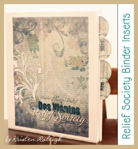 Relief Society Binder Inserts and Tabs