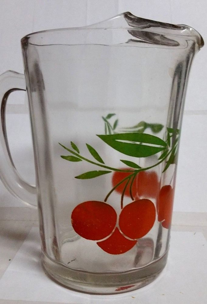 VINTAGE ORANGE JUICE VERY THICK GLASS PITCHER 1950-60s NO CHIPS, CRACK OR BREAKS