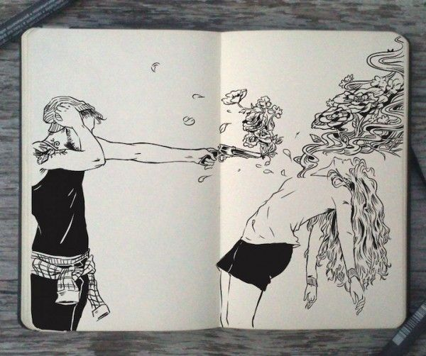 Moleskine-Art-by-Gabriel-Picolo-3.   I love this.  Girls, guns and flowers.