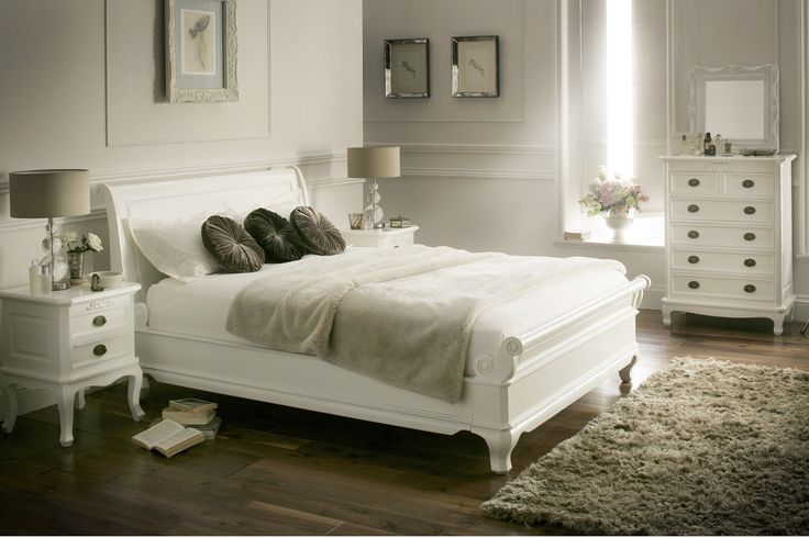 La Louvier White Wooden Sleigh Bed - Painted Wood - Wooden Beds - Beds