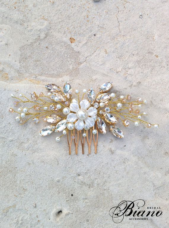 Delicate wedding accessory will perfectly complement most wedding hairstyles. The comb easily bends to fit comfortably in hairstyle. Decorated with pearls, crystals, swarovski rhinestones. Color: ivory pearls and gold wire, also you can choose white pearls or silver wire. Measurements approx.: 15cm (5.9 inches) Ready to ship in 1-2 weeks. This item comes in a gift box. Before purchasing please read my Shop Policies and Shipping Information (shipping terms, conditions) : https://...
