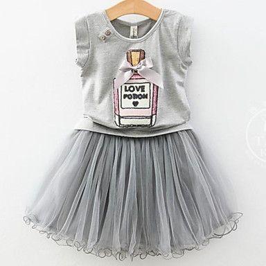 Elegant Perfume Bottle Bow Pompon T-shirt + Pompon Yarn Skirt Suit (2 Pcs) – AUD $ 31.45