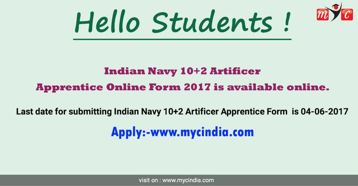 Indian Navy 10+2 Artificer Apprentice Online #Form 2017 is available online. Last date for submitting Indian Navy 10+2 Artificer Apprentice Form is 04-06-2017 Apply online:- https://www.mycindia.com/exam/details/729