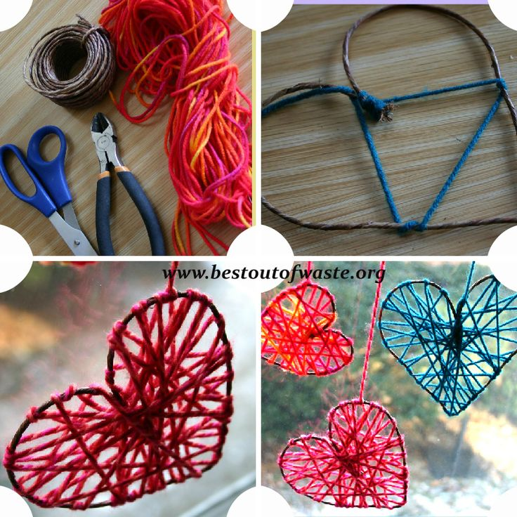 Best Out Of Waste | 3 Amazing DIY Craft Ideas on Valentine's Day Using String | http://bestoutofwaste.org