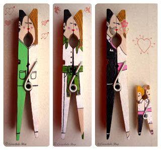 Recopilación pinzas decoradas DIY ~ Regalos manuales de amor
