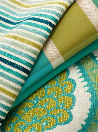 #Robert Allen #fabric- Great combination of colors with stripes narrow and wide and a floral motif!