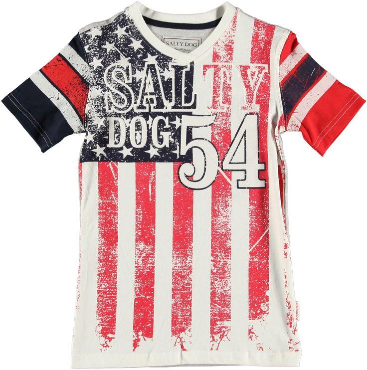 Stoer shirt Salty Dog, Amerikaanse vlag, €24.95  www.blauwlifestyle.nl