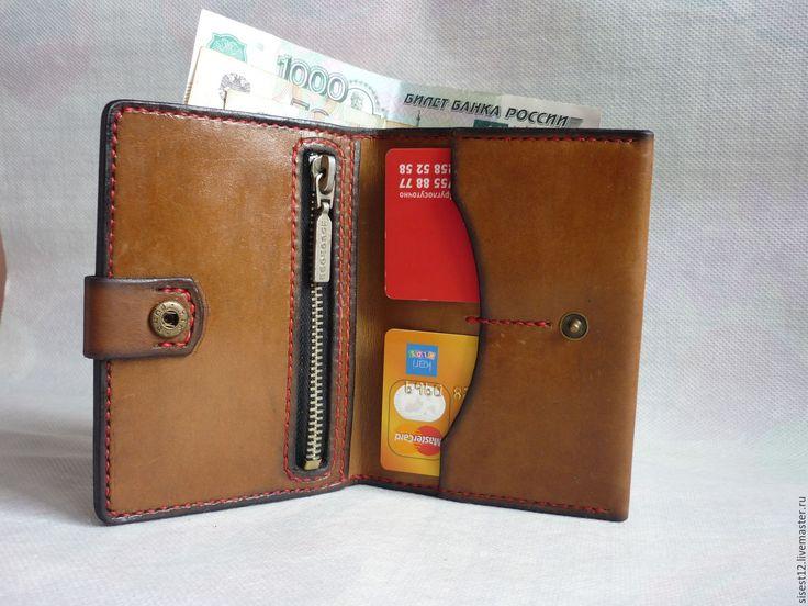 Купить Портмоне для денег и карточек. - бежевый, натуральная кожа, портмоне, ручная работа, портмоне кожаное