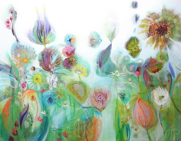 """""""into the blue"""" acryl en gemengde technieken op doek. 120x150cm 3d. galerie www.delangenhof.nl  www.moniekpeek.nl"""
