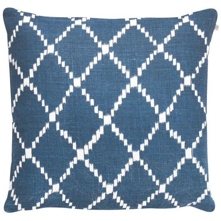 Ikat Kerela kuddfodral M, blå/vit i gruppen Textil / Plädar & Prydnadskuddar / Prydnadskuddar hos RUM21.se (131450)