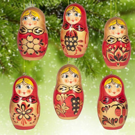 Bois peintes de Khohloma Style de décorations de Noël (sku 025)