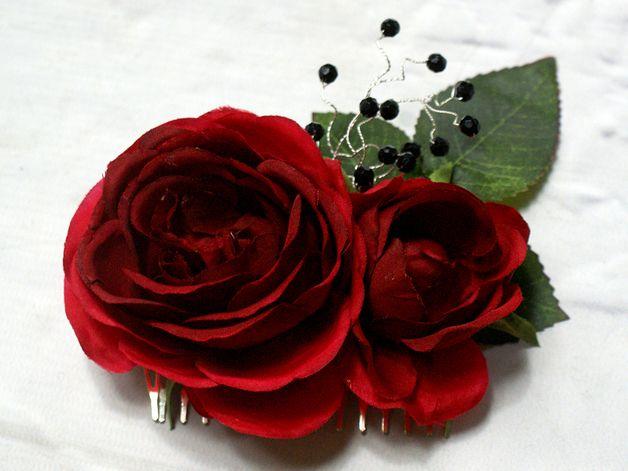 Kwiatowy grzebień do włosów / róże - LolaWhite - Kwiaty do włosów